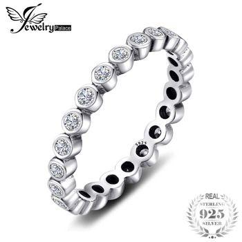 Jewelrypalace 100% Sólida Prata Esterlina 925 Anéis Conjuntos de Jóias Cúbicos de Zircônia CZ Eternity Anel Empilhável Moda Feminina Presentes