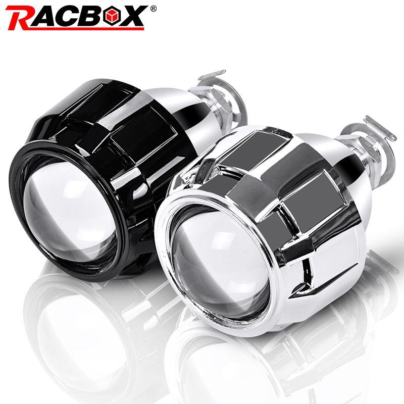 RACBOX 2 pièces 2.5 pouces universel Bi xenon HID projecteur lentille argent noir Shroud H1 Xenon LED ampoule H4 H7 moto voiture phare
