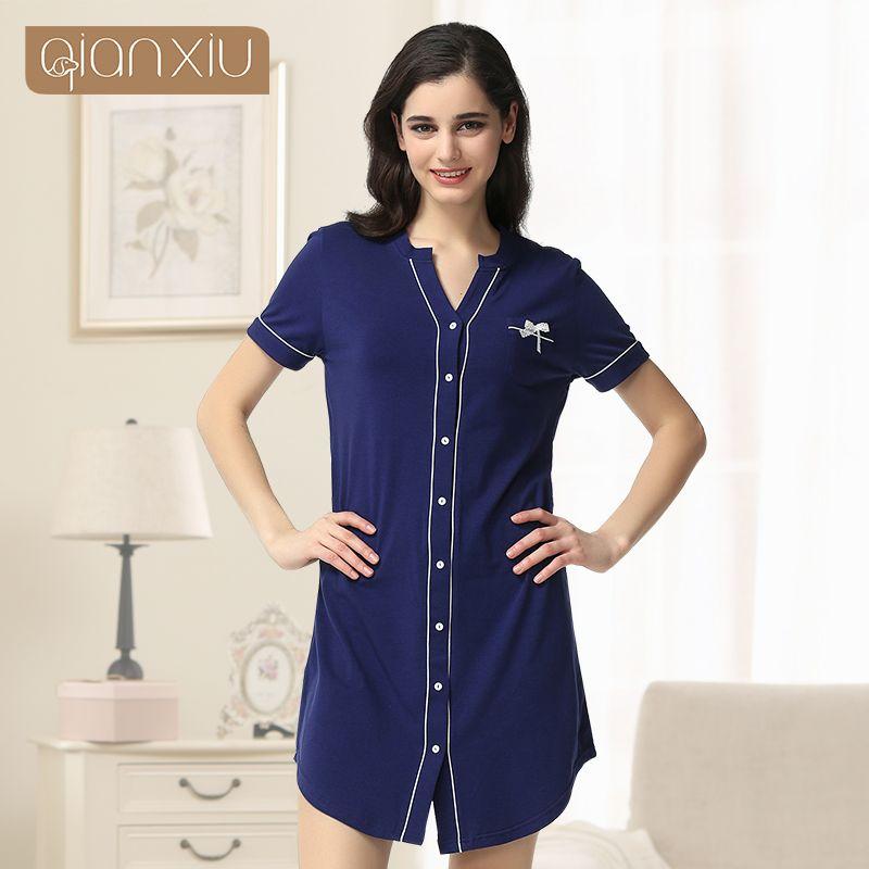 Robe de chambre Robe de bain Qianxiu haute qualité bouton chemise de sommeil décontracté à manches courtes Couple Homewear peignoir 1635