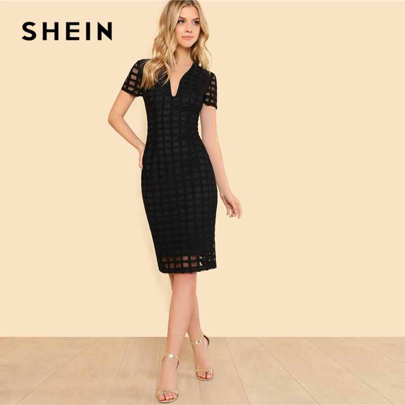 SHEIN Black Square Cut Overlay Lace Dress Women Deep V Neck Short Sleeve Zipper Plain Pencil Dress 2018 Elegant Party Dress