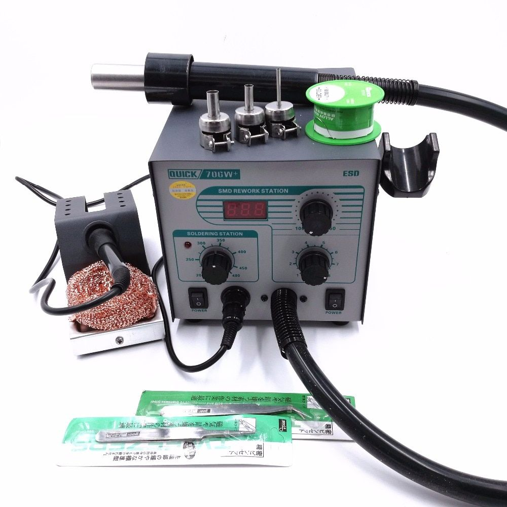 QUICK 706W+ Digital Display Hot Air Gun + Soldering Iron Anti-static Lead-free Rework Station 2 IN 1 With 3 Nozzles + Tin wire