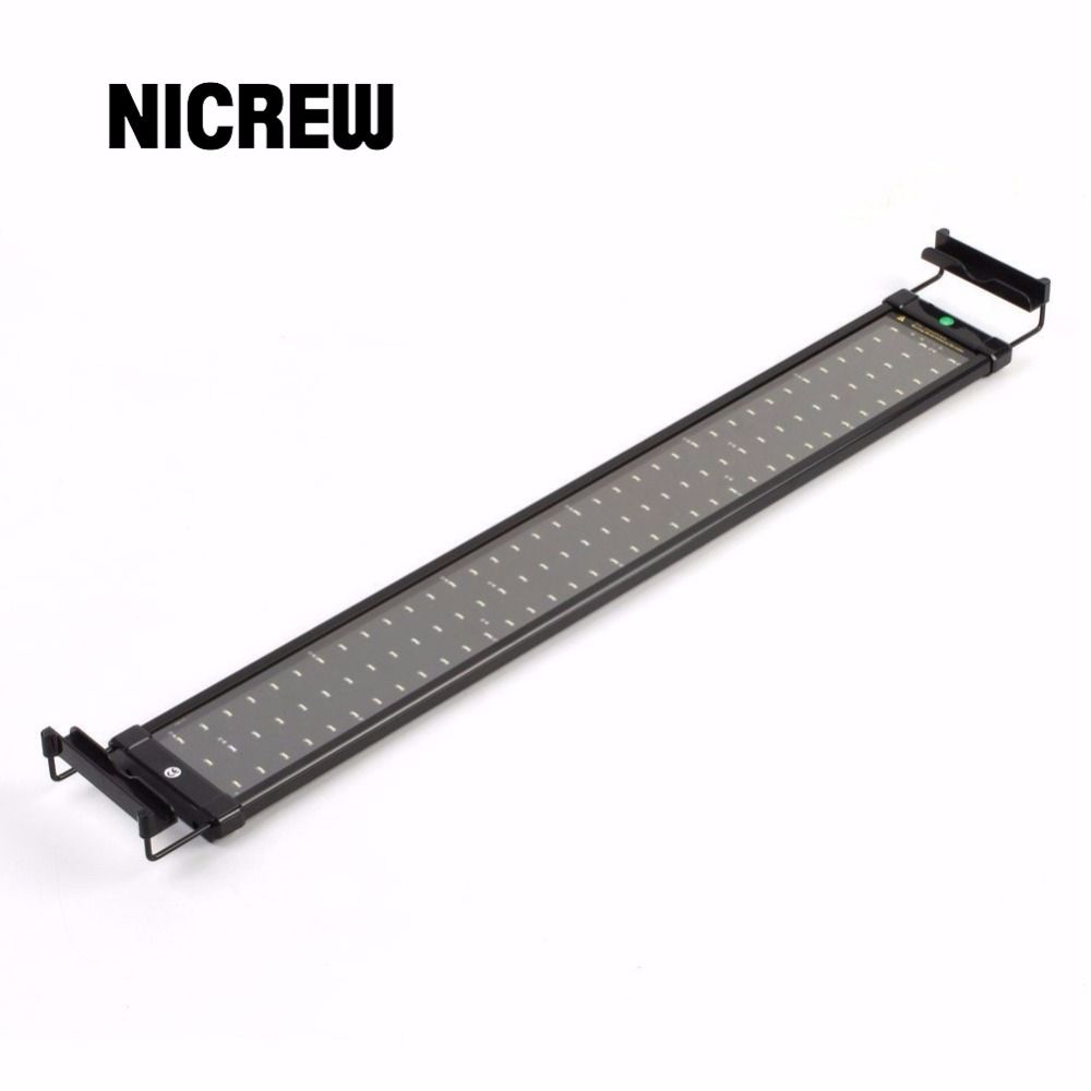 Nicrew 72-94cm Aquarium LED Lighting Fish Tank Light Lamp with Extendable Brackets 90 White and 18 Blue LEDs Fits for Aquarium