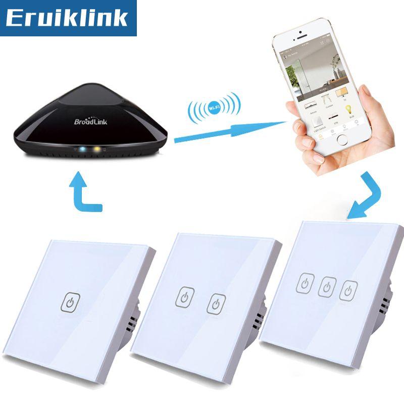 EU/UK Standard Tactile Interrupteur, blanc Panneau de Verre 1/2/3 Gang 1 Façon RF433 Lumière Mur Sans Fil Commutateurs de Contrôle À Distance + LED indicateur