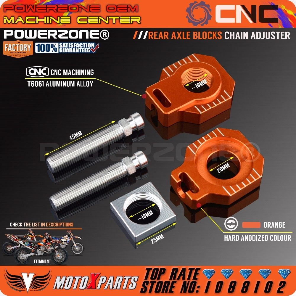 POWERZONE Rear Axle Blocks Chain Adjuster For KTM 125 250 300 350 450 525 530 EXC EXCF XCW XCFW 2017 18 SX SXF XC XCF SX-F
