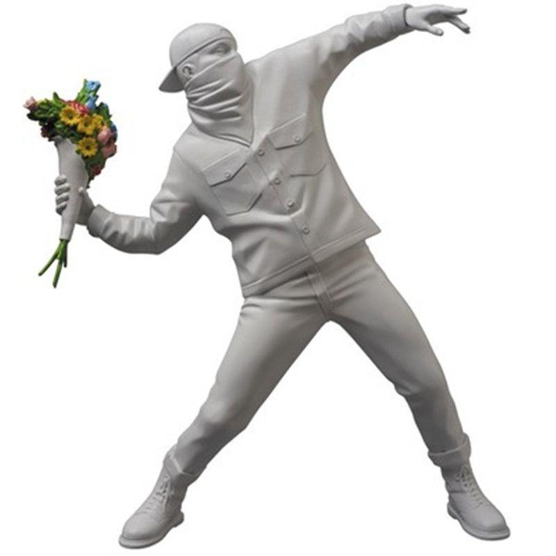 Mdicom Banksy Blume Bomber Voll-Länge Porträt Street Art Werfen Blumen Menschen Statue Dekoration Action Figur Spielzeug X1848