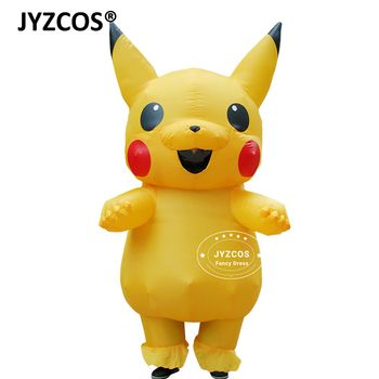 JYZCOS Inflatable Pikachu Costume Cosplay Purim adult Pokemon costume halloween Fancy Dress for women Girls kids cosplay mascot