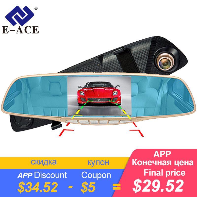 E-ACE 5.0 pouces voiture Dvr caméra automobile tableau de bord caméra dans la voiture vidéo caméra Full HD 1080 P Auto Dashcam rétroviseur caméra