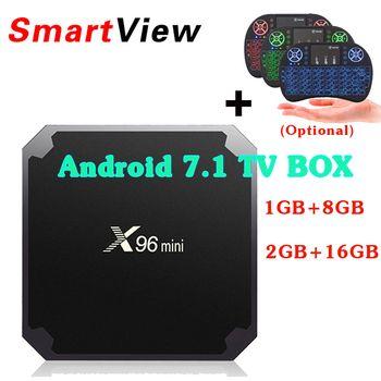 10 шт. x96 мини ОС Android 7.1 Умные телевизоры коробка 1 ГБ/8 ГБ 2 ГБ/16 ГБ Amlogic s905w 4 ядра H.265 4 К 2.4 ГГц Wi-Fi Декодер каналов кабельного телевидения x96mini