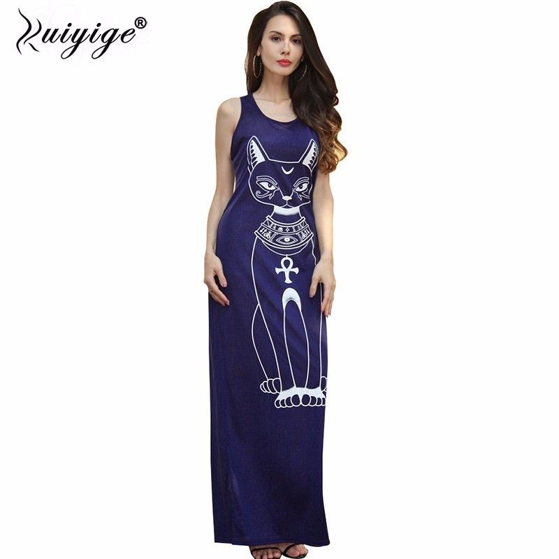 Ruiyige 2018 longues robes d'été de mode femmes décontracté noir sans manches col rond grande taille chat imprimer mince étage longueur robe