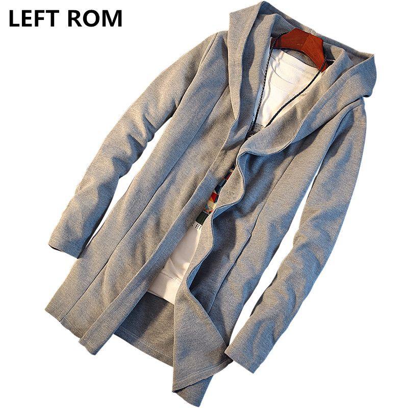 LEFT ROM Slim long paragraph sweater knit cardigan sweater 2018 Mens Hooded Jacket Men casual fashion color cardigan Windbreaker
