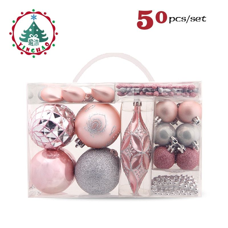 inhoo 50pcs Christmas Decoration Tree Ball Gift Bead string Baubles Xmas Party Snowflake Hanging Ornament Supplies for Home 2017