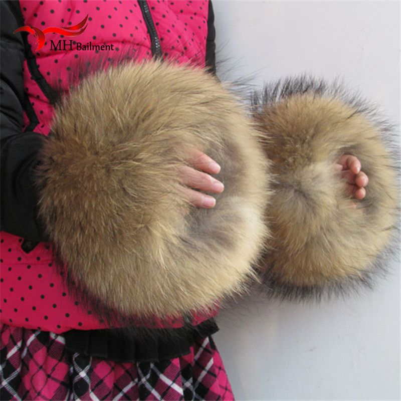 Nature Genuine Fur Cuff Oversize Real Raccoon Fur Boot Cuff Sleeves Wristband Sleeve For Women Winter Coat Downcoat X#2