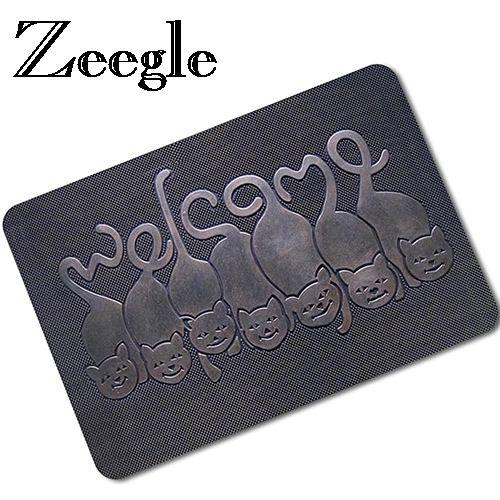 Zeegle 3D Printed Floor Mat Rubber Doormat Outdoor Rugs Welcome Entrane Mats Anti-slip Hallway Rugs Kitchen Bathroom Carpets