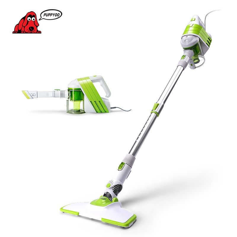 PUPPYOO Low Noise Home Rod Vacuum Cleaner Handheld Extension Tube Dust Collector Household Aspirator White&Green Color WP521