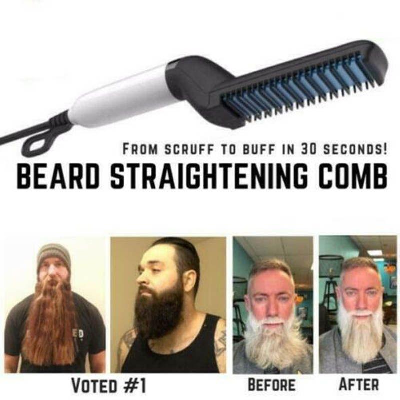 Men Quick Beard Straightener Styler Comb Multifunctional Hair Curling Curler Show Cap Tool