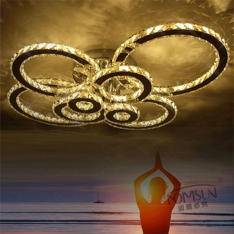 flush mount modern crystal led Chandelier For Living Room Bedroom lustre de cristal sala Led Ceiling Chandelier Lamp fixture