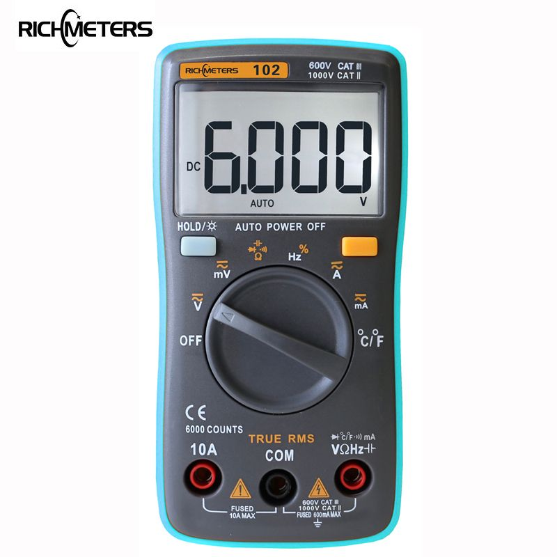 RICHMETERS 102 Multimeter 6000 counts Back <font><b>light</b></font> AC/DC Ammeter Voltmeter Ohm Frequency Diode Temperature