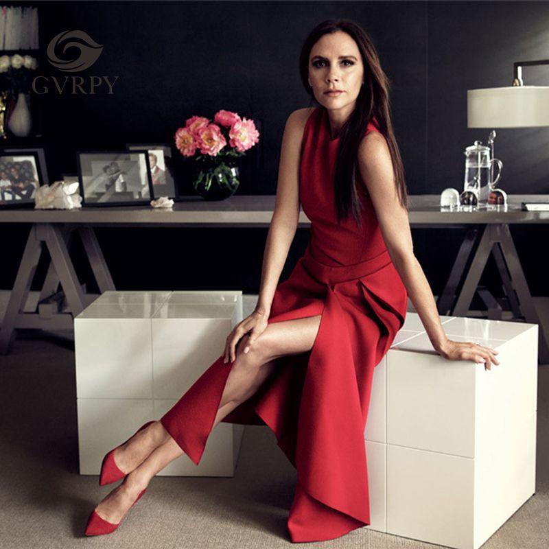 2018 Новый взлетно-посадочной полосы Victoria Beckham платье для Для женщин Сплошной Цвет Черный/Красный Sexy рукавов Асимметричный Средний Платья для...