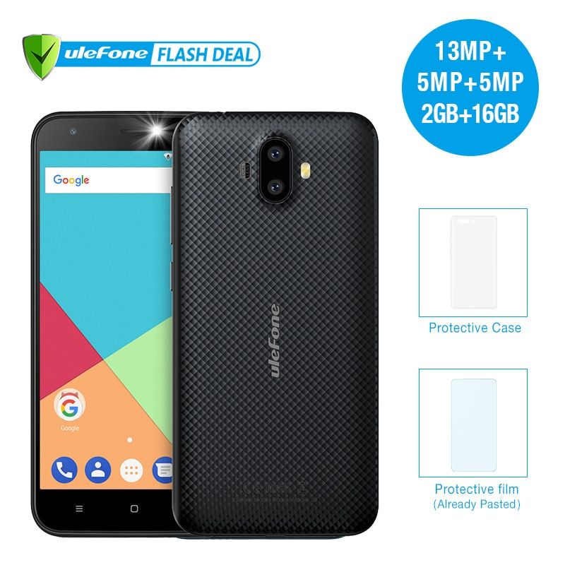 <font><b>Ulefone</b></font> S7 Pro 2GB RAM+16GB ROM Dual Camera Mobile Phone 5.0 inch HD MTK6580 Quad Core Android 7.0 13MP Cam 3G WCDMA Cellphone