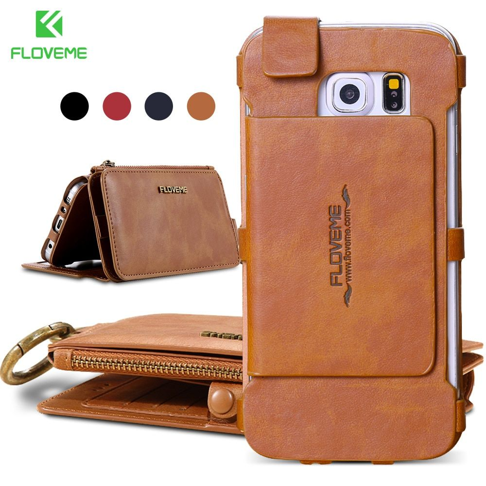 FLOVEME Card Slot Wallet Case For Samsung Galaxy S6 S7 <font><b>Edge</b></font> Retro Leather Cover For iPhone X 5 6 6s 7 8 Plus Phone Cases Fundas
