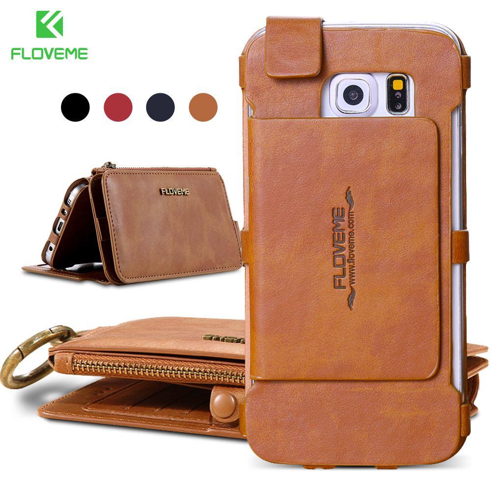 FLOVEME Card Slot Wallet Case For Samsung S9 S6 S7 Edge Plus Retro Leather Cover For iPhone X 6 6s 7 8 Plus 5 Phone Cases Fundas