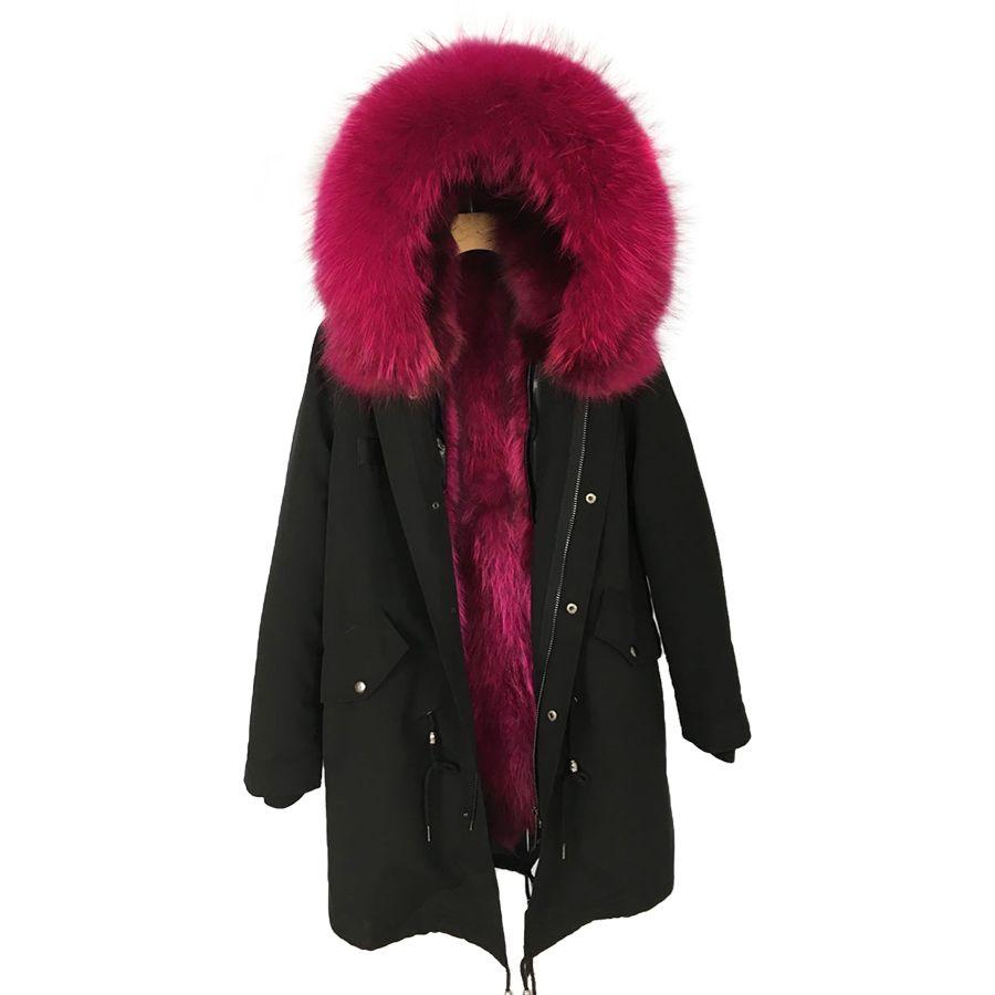 racoon fur parkas Female real fur hooded jacket women winter coats plus size black natural fur parka