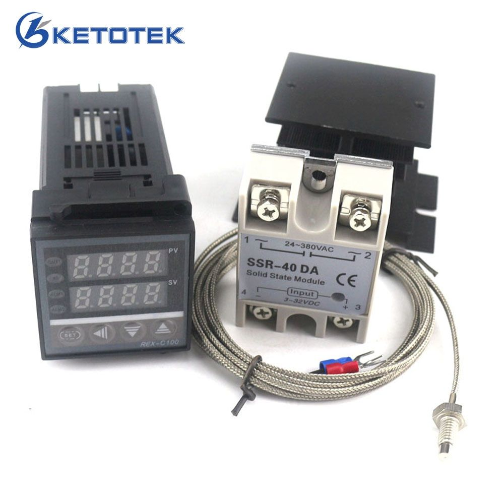 Dual Digital PID Temperature Controller Thermostat Kit REX-C100 with SSR-40DA + heat sink + 2m quality K probe Thermocouple