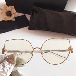 Rbuddy Mata Kucing Kacamata Clear Wanita Hipster Shand Jelas Lensa Kacamata Transparan Bingkai Logam Wanita Emas Merah Muda Kacamata Palsu 2019