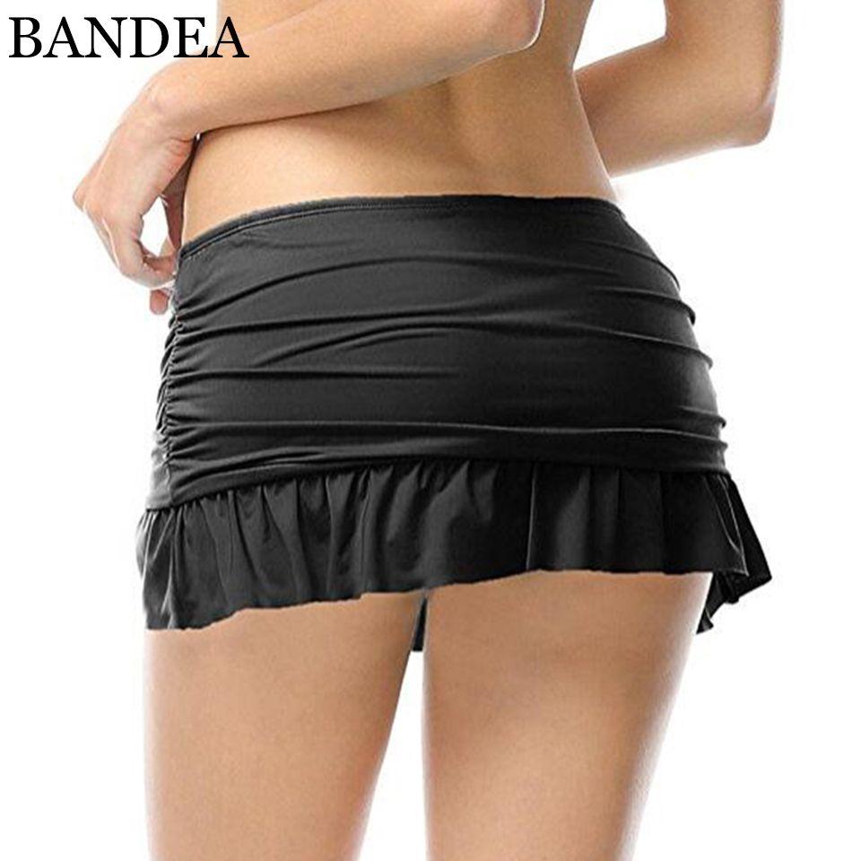 BANDEA bikini bottoms frauen solide volant umsäumte sport bikini bottom mittlere taille höschen sexy schwimmen tragen slip plus größe KM977