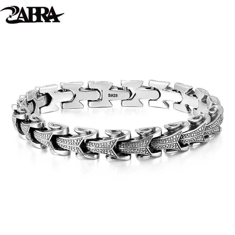 ZABRA Gothic Solid 925 Sterling Silber Drachen Armband Männer Hohe Poliert Vintage Punk Rock Biker Kiel Armbänder Schmuck Für Männer