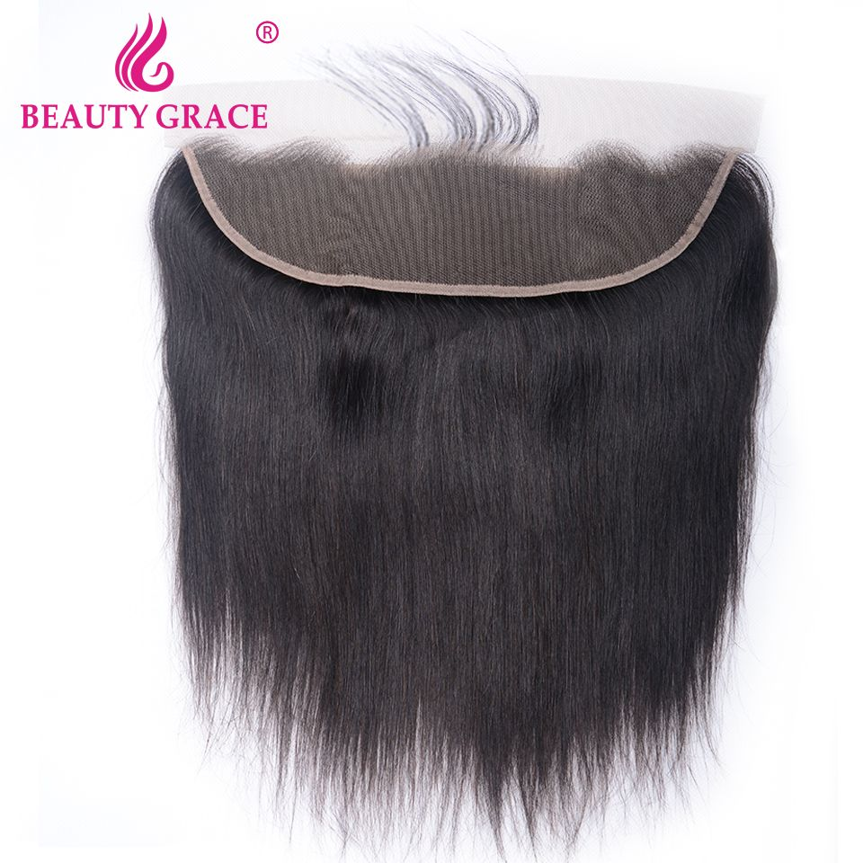 Beauty Grace Brazilian 13x4 Ear To Ear Pre Plucked Lace Frontal Closure Straight With Baby Hair Remy Human Hair Free Part