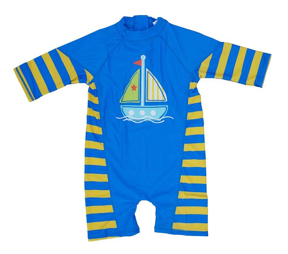 Bonverano (TM) Infant Jungen Bademode Sunsuit UPF 50 + Sonnenschutz S/S Reißverschluss Gelb Blue One Badeanzug Rashguard