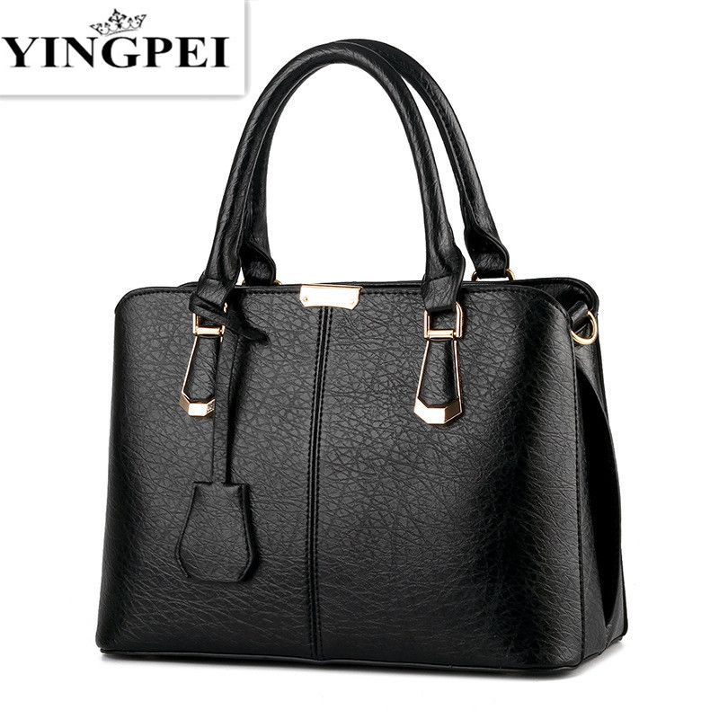 YINGPEI Women Leather Handbags Medium Shoulder Bags Top-Handle Luxury Women Messenger Bag Famous Brands Female Tote Women Bolsa