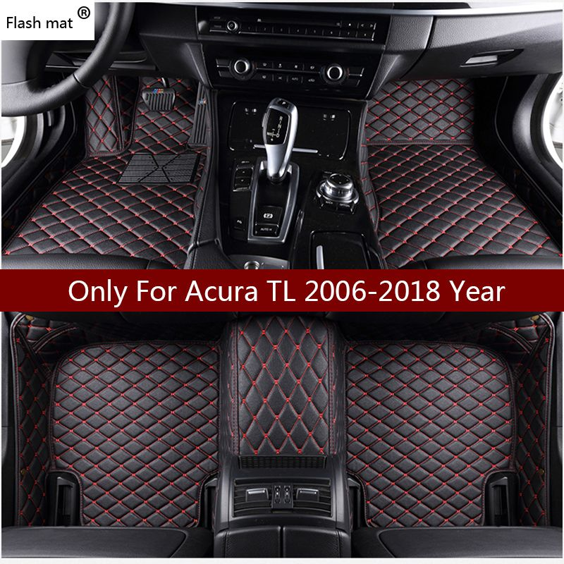 Flash mat leather car floor mats for Acura TL 2006 2007 2008 2009 2010 2011 2012-2018 Custom foot Pads automobile carpet covers