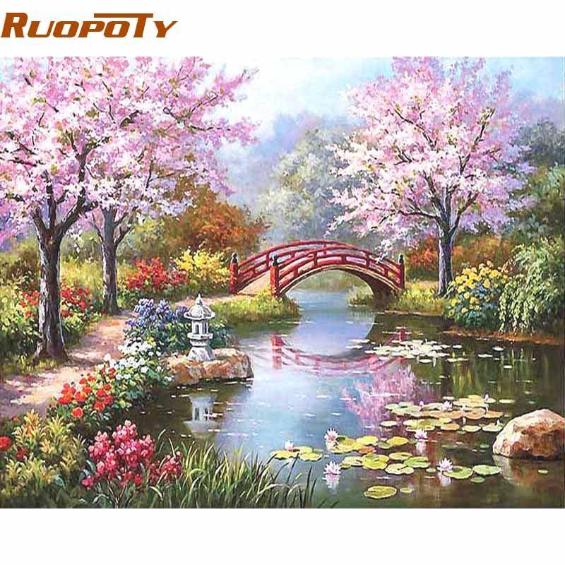 Cadre RUOPOTY peinture à la main par numéros Kits peinture à colorier sur toile peint à la main peinture à l'huile décor à la maison pour 40*50 cm Fairyland