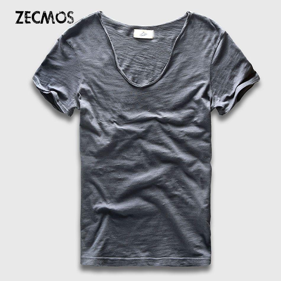 Hommes basique T-Shirt solide coton col en V Slim Fit mâle mode t-shirts à manches courtes top T-Shirts 2017 marque