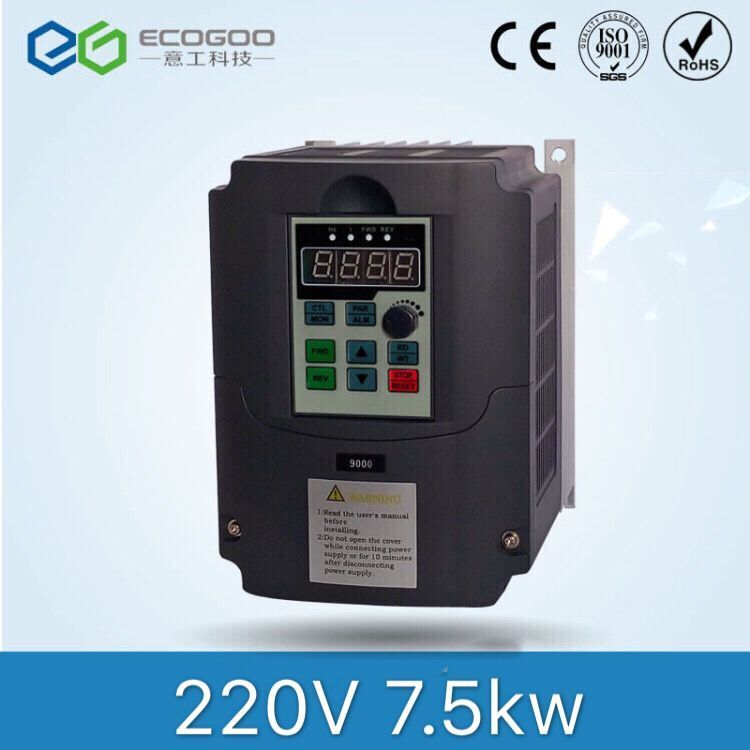 7.5KW 10HP 400HZ VFD Inverter Frequency converter single phase 220v input 3phase 380v output 18A for 7.5HP motor