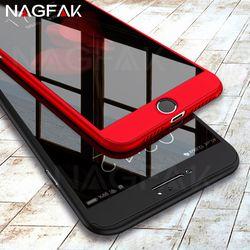 NAGFAK lujo cubierta completa caso para iPhone 8 7 6 6 S Plus casos 360 grados deseo cubierta de vidrio templado para el iPhone 6 6 S 8 7 teléfono caso