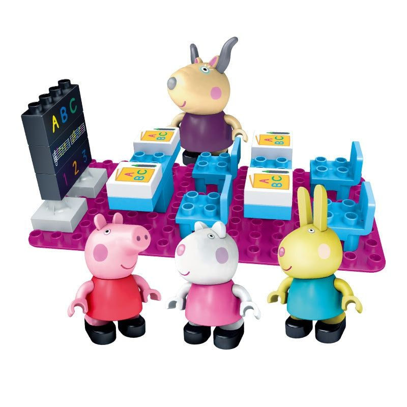 Peppa Pig Friends Party decorations playground Classroom Scene Buiding Blocks Toys Figures Learning Building Kit For Girls Boys