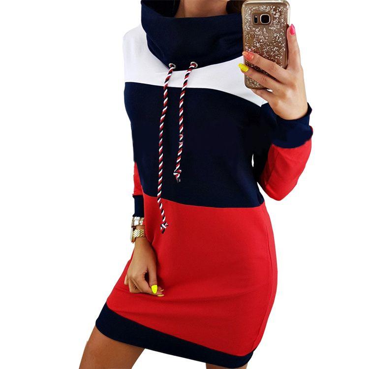 Для женщин зима водолазка с длинным рукавом с капюшоном плюс Размеры осень 2017 г. полосатый красочные платье с капюшоном Толстовка Праздничн...