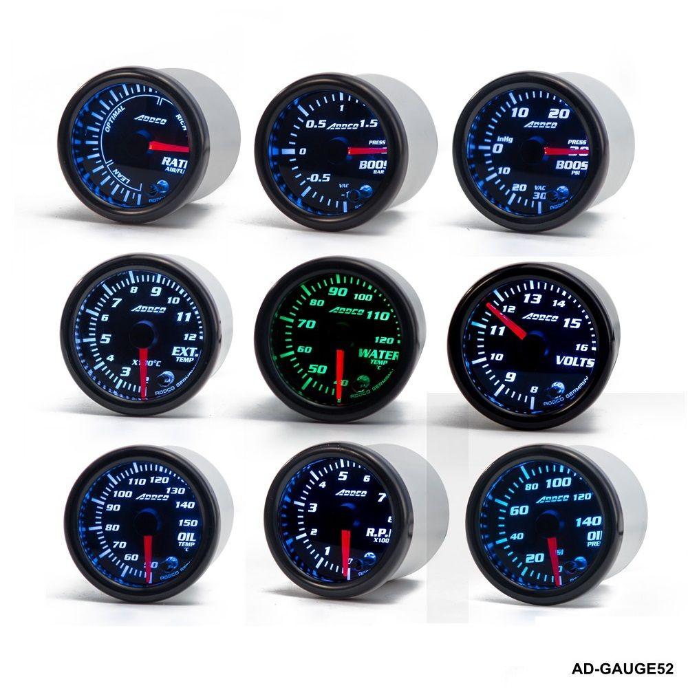 52mm 7 Color LED Car Meter Tachometer Turbo Boost Gauge /Air Fuel Ratio /Volt /Water temp / W Sensor  Holder AD-GAUGE52