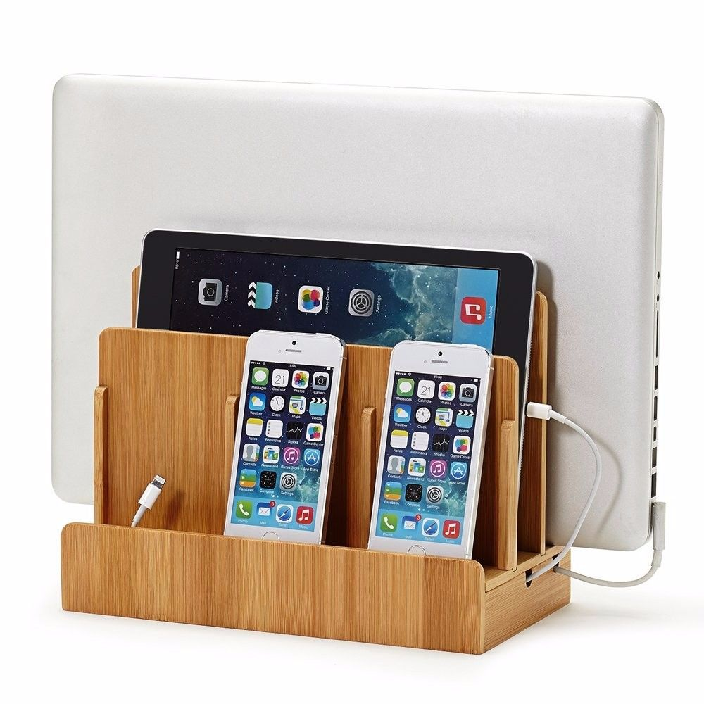 Multi Device Charging For Laptops,Tablets,Phones-Strong Build,Eco-Friendly Bamboo Station Desktop Phone Mount Holder