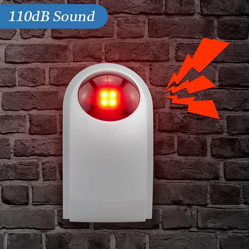 KERUI J008 110dB intérieur extérieur sans fil clignotant sirène lumière stroboscopique sirène pour KERUI système de sécurité d'alarme à domicile