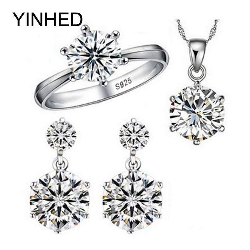 YINHED Hot Sale 925 Sterling Silver Bridal Jewelry Set 1ct Cubic Zircon CZ Wedding Necklace Earrings Ring Jewelry Sets ZS029