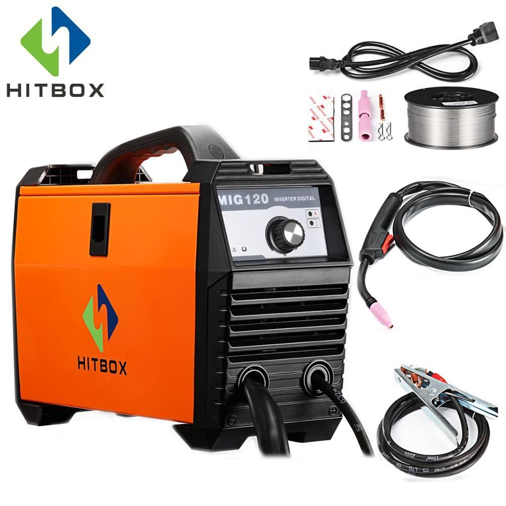 HITBOX Mig Schweißer 220 v MIG120A Flux Entkernt Draht Eisen Schweißen Maschine Tragbare Größe DC Mig Schweißen Werkzeuge Für Mig kein Gas Schweißen