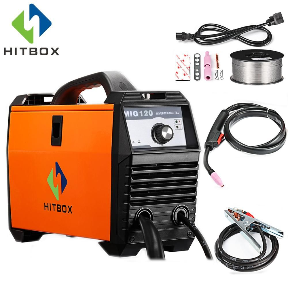 HITBOX Mig Welder 220V MIG120A Flux Cored Wire Iron Welding Machine Portable Size DC Mig Welding Tools For Mig No Gas Welding