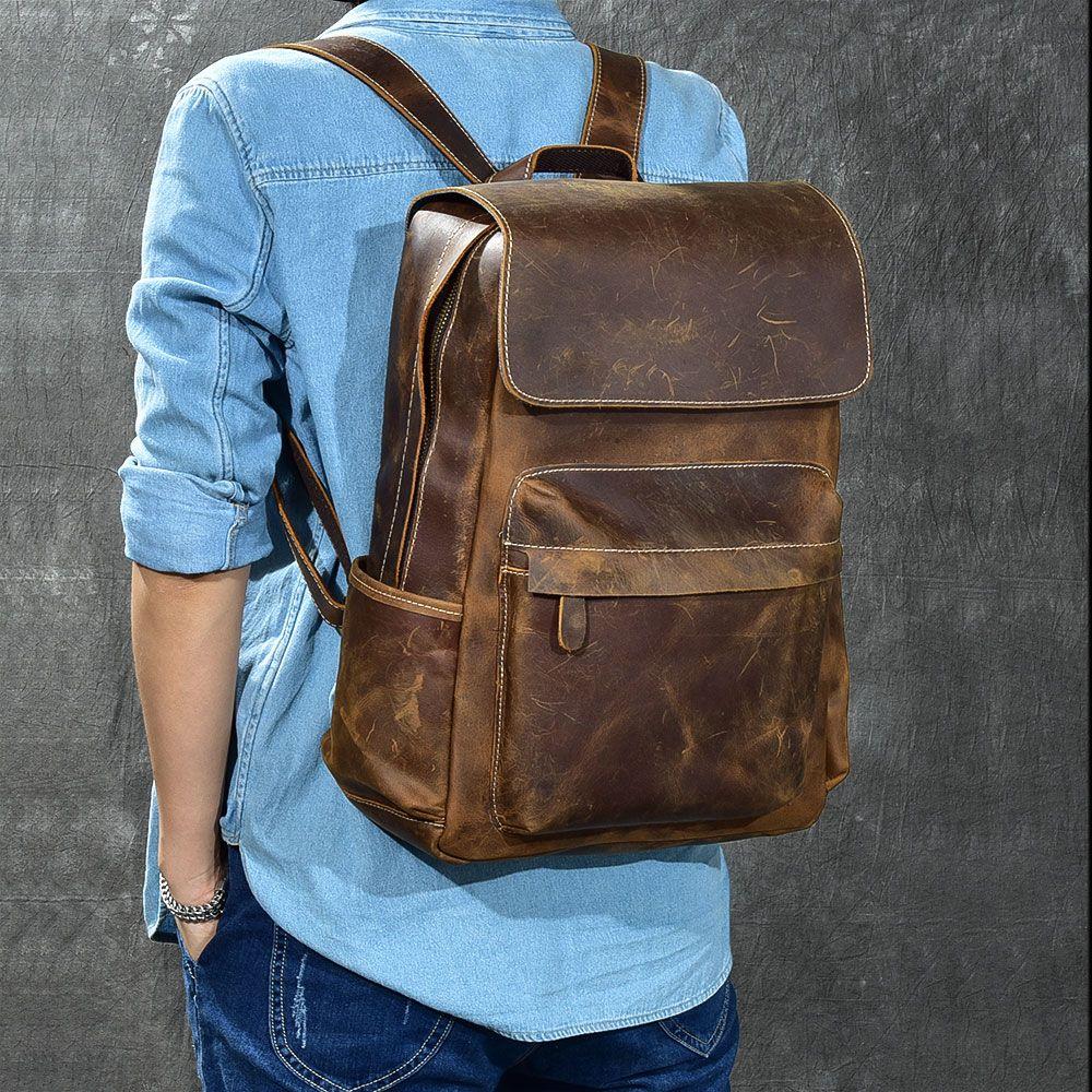 Marke Designer Männer Echtes Leder Rucksack Crazy Horse Vintage Daypack Multi Tasche Casual Rucksack Vintage Handgemachte Tote Bolsa