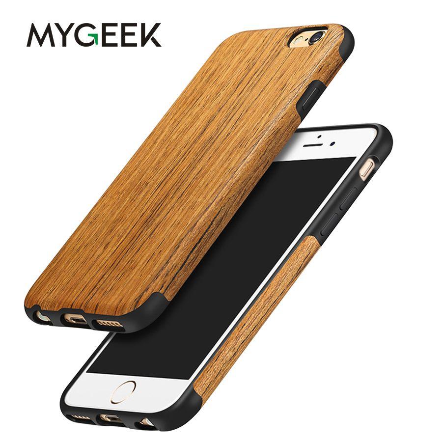 MyGeek Bois Couverture De Luxe Cas de Téléphone Mobile pour iphone 5 5S 6 6 s 7 8 plus X (10) Cas de téléphone de Couverture Arrière