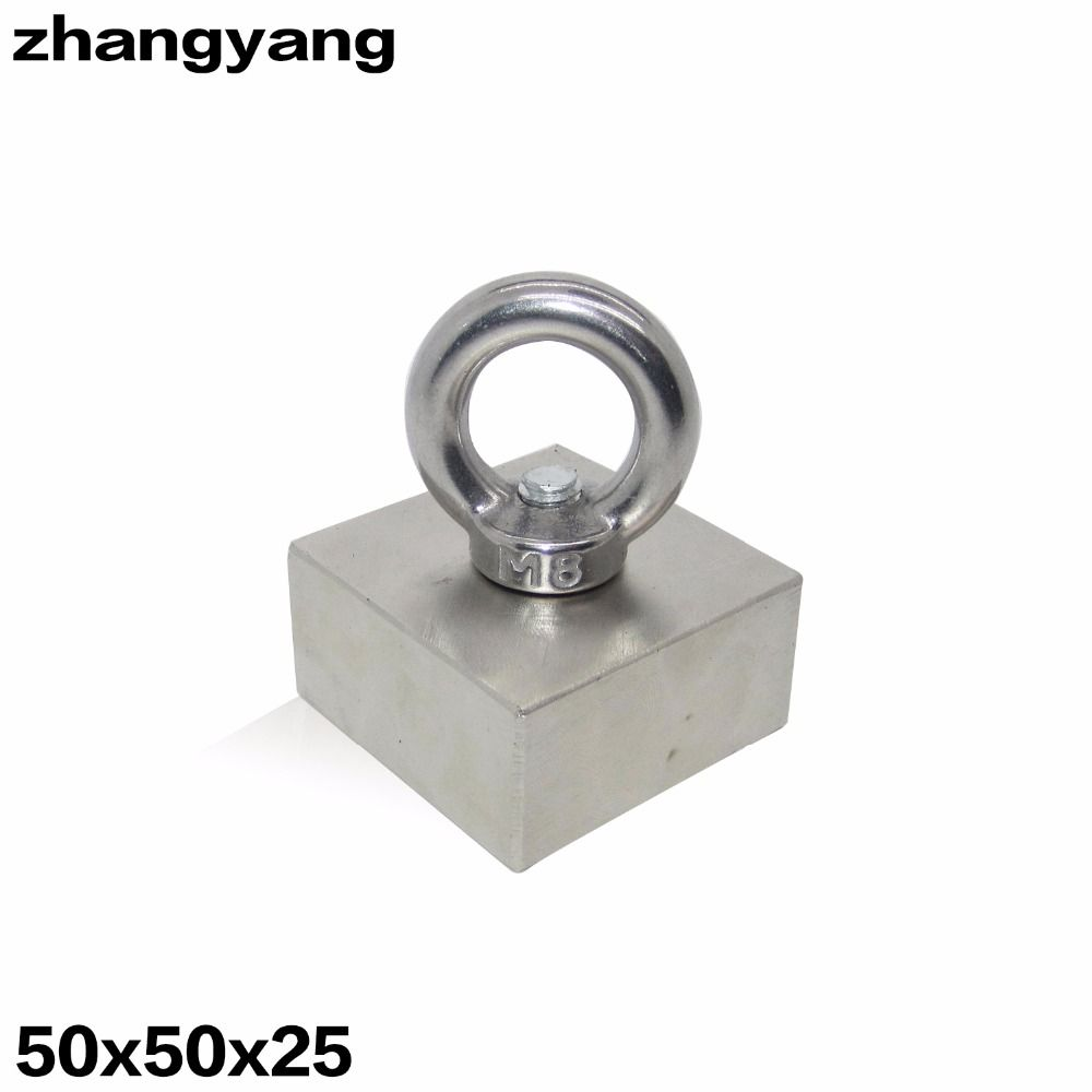 ZHANGYANG 50x50x25mm Super Powerful Strong Rare Earth block hole magnet Neodymium Magnets F50*50*25mm