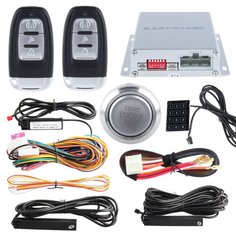 Easyguard intelligent PKE car alarm system hopping code remote start starter push start button touch password keypad backup